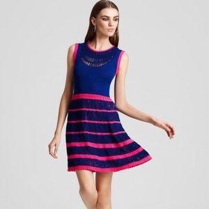 Nanette Lepore navy and pink crochet dress